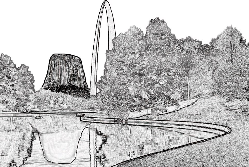 Setting mash-up graphic for CL101 - Devils Tower and Jefferson National Expansion Memorial