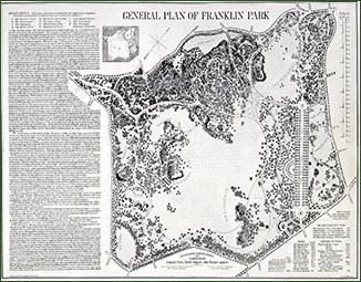 Drawing of the General Plan of Franklin Park, with map and text