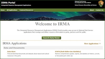 Screen capture of the homepage of IRMA