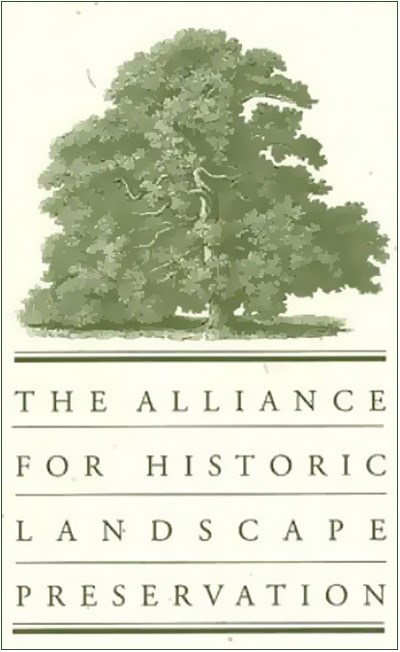 Logo for the Alliance for Historic Landscape Preservation, with text and mature tree