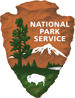 National Park Service arrowhead, with bison, mountain, and redwood.