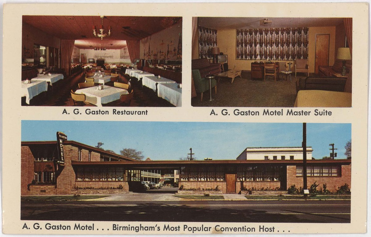 Postcard of the A.G. Gaston Motel, showing the restaurant, master suite, and exterior.