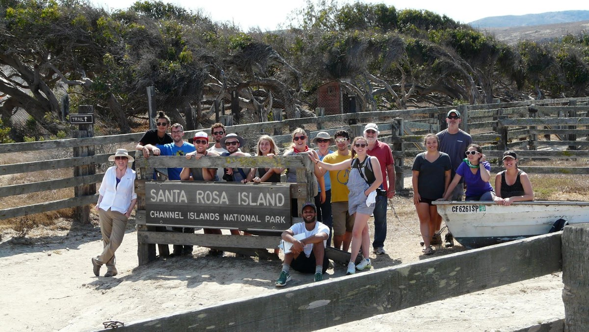 Robert Melnick and students during a design studio, Santa Rosa Island
