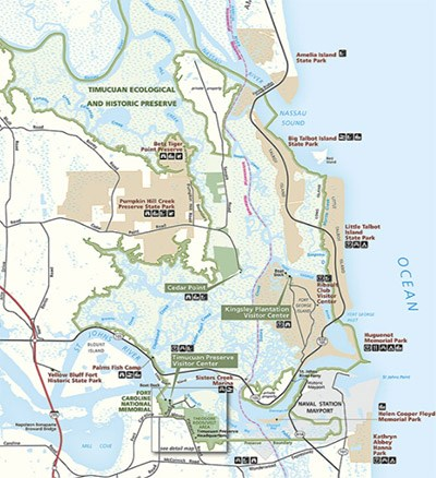 NPS map show park boundary and sites, where St. Johns River meets the Atlantic Ocean