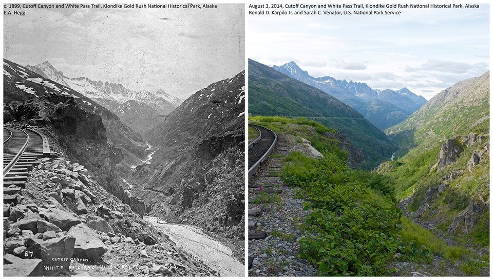 Two images compare views of a railroad above a canyon, in 1899 and 2014