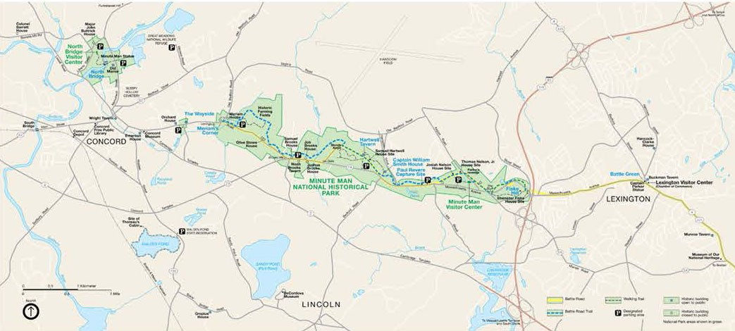 A park map shows the battle road, trails, historic buildings, and surrounding area.