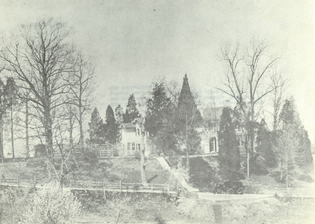 A historic photo of a house on a hill, obscured by tall cedar trees and leafless deciduous trees.
