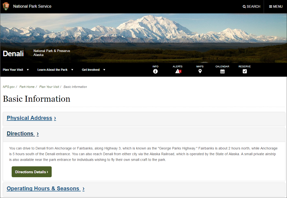 Screenshot of Denali's basic information page