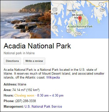 Screenshot showing information about Acadia National park generated from a web search