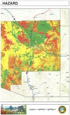 A wildfire hazard map of eastern Pima County.