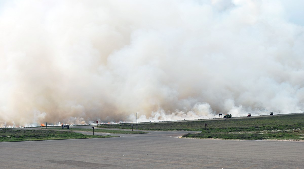 Thick smoke rises from an area beyond a road.