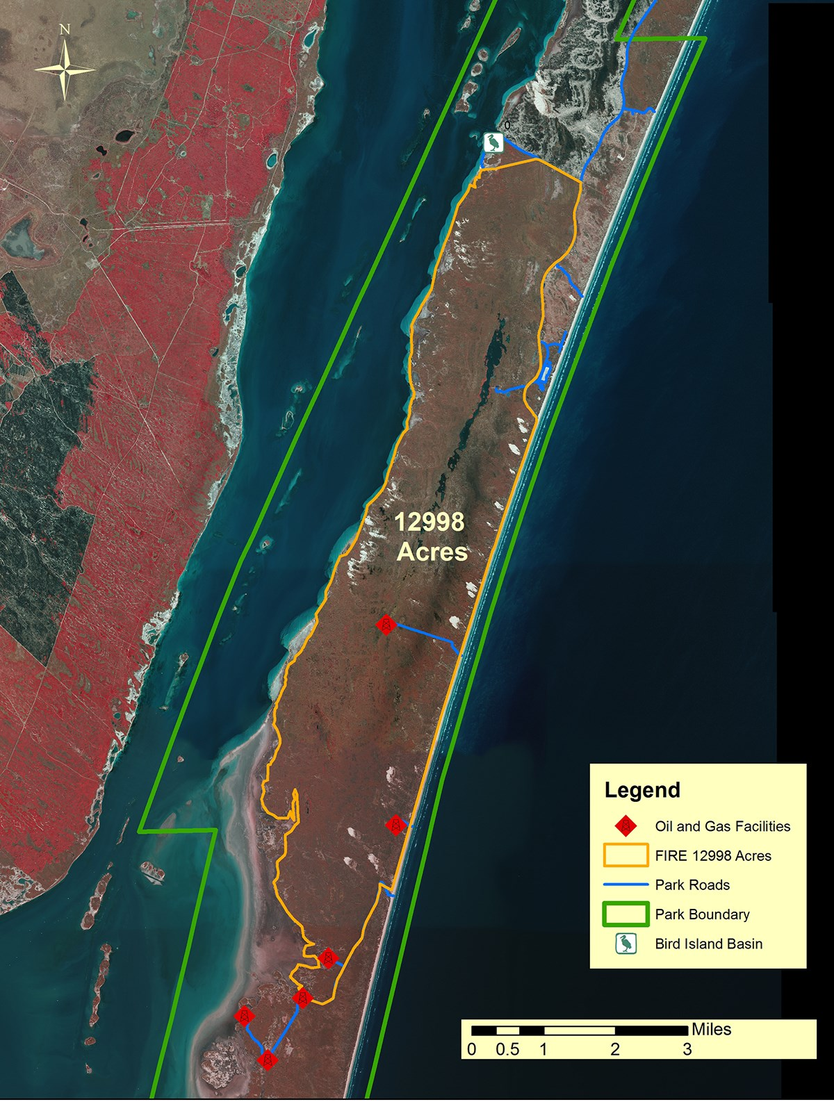 A map of Padre Island National Seashore shows the area burned by the 6 Mile Fire