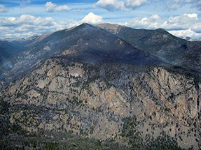 An aerial view of the Fern Lake fire shows the steep, rugged terrain in the Big Thompson drainage.