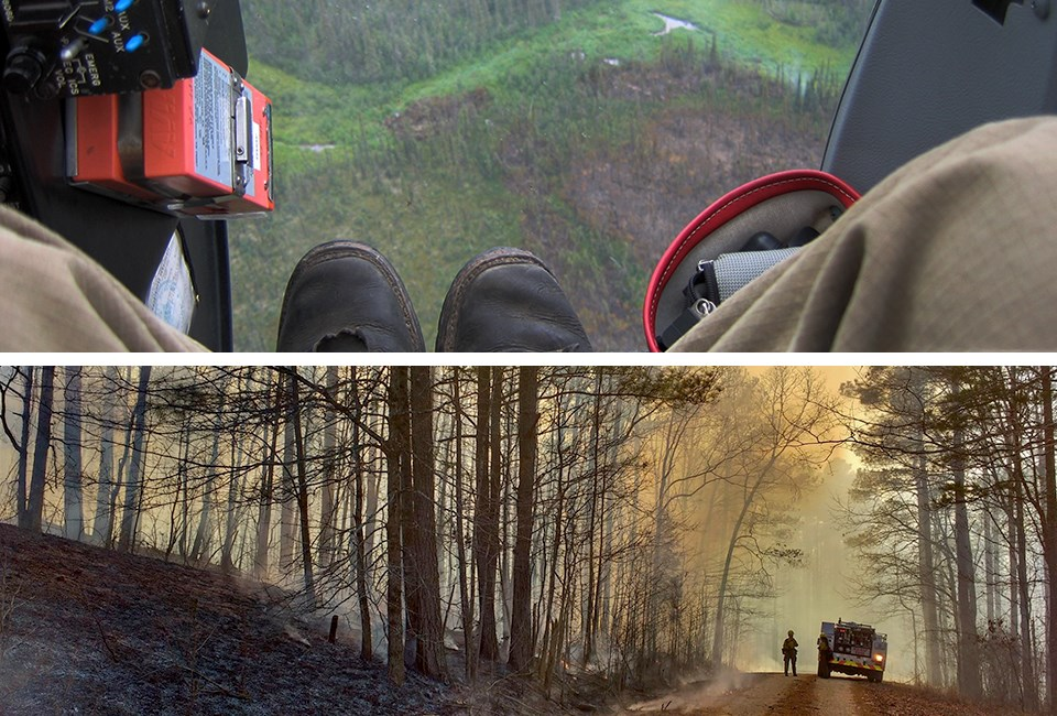 Top:Aerial view looking down on fire boots and fire below; Bottom:engine, firefighter, and fire in forest.