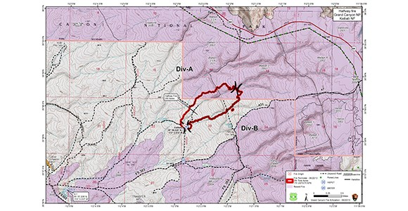 Map of fire perimeter in and near Grand Canyon National Park.
