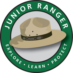 junior ranger logo: park ranger hat, explore, learn, protect