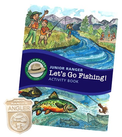 Cover of junior ranger fishing booklet with junior ranger badge.