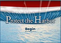red white and blue flag with 'Protect the Harbor - Begin' text in front