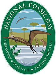 national fossil day artwork oval format with pterosaur flying