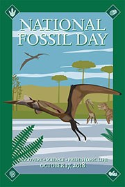 national fossil day poster with pterosaur flying
