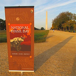 National Fossil Day banner on the National Mall