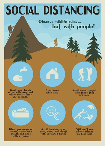 "Infographic entitled ""Social Distancing"" with illustrations of a person climbing a mountain and a hiker near trees. Additional text and graphics include ""Observe wildlife rules...but with people!"