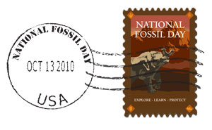 illustration, National Fossil Day stamp with postmark