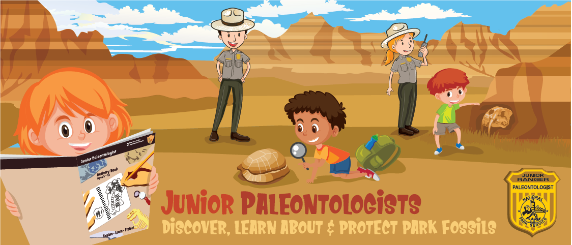 cartoon drawing of rangers and kids exploring for fossils