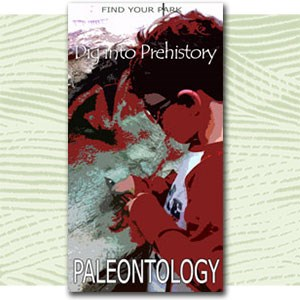 "Find Your Park illustration child cleaning a fossil, text ""Dig into prehistory paleontology"""