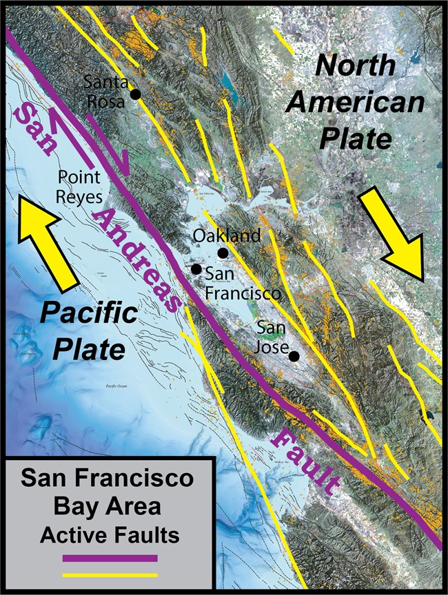 map showing faults in the San Francisco Bay area.