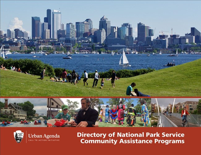 cover of report conservation assistance directory with photo of urban park