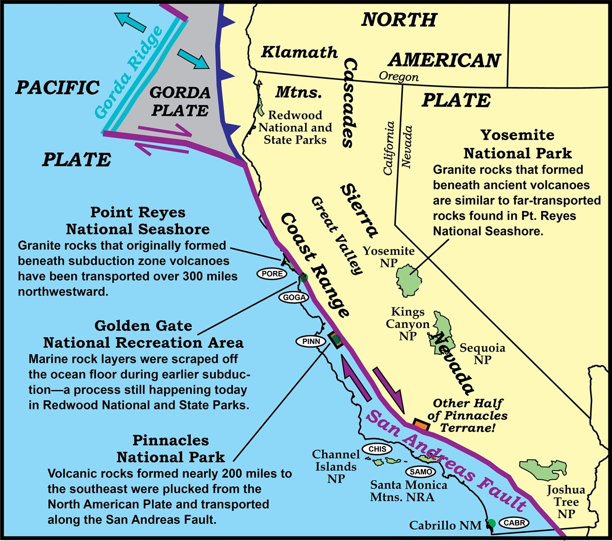 map showing the displacement of rocks along the san andreas fault, state lines, park locations, and major landforms.