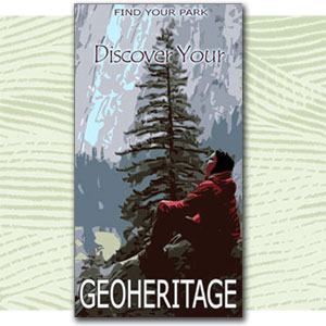 "Find Your Park illustration of person enjoying nature, text ""discover your geoheritage"""