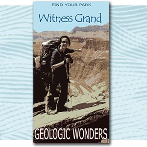 "Find Your Park illustration of person near canyon, text ""witness grand geologic wonders"""