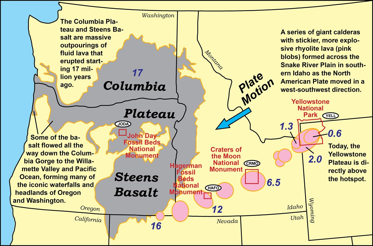 map of columbia plateau and snake river plain volcanic features