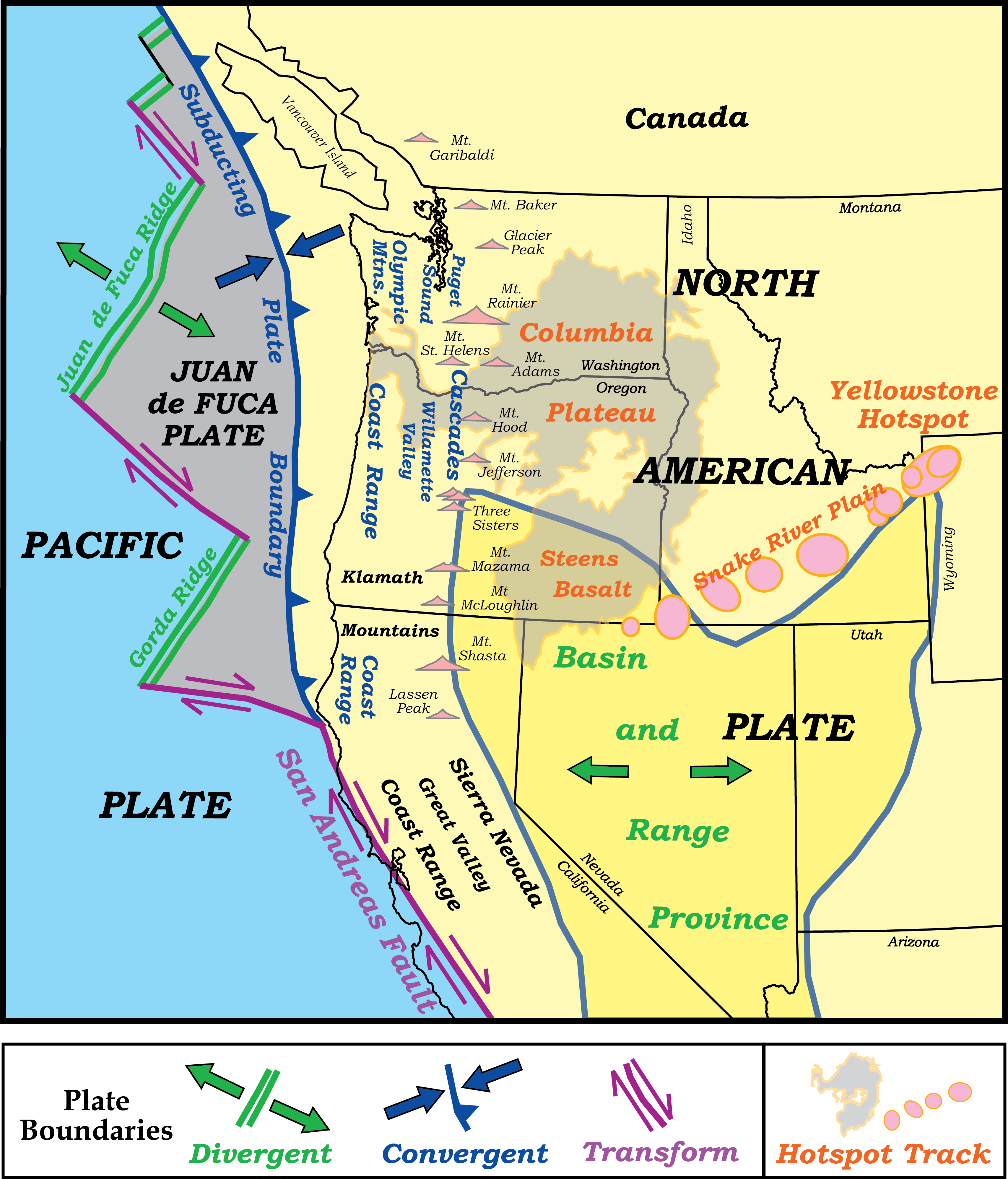 map of northwest us with multiple plates, volcanoes, and physiographic provinces labeled