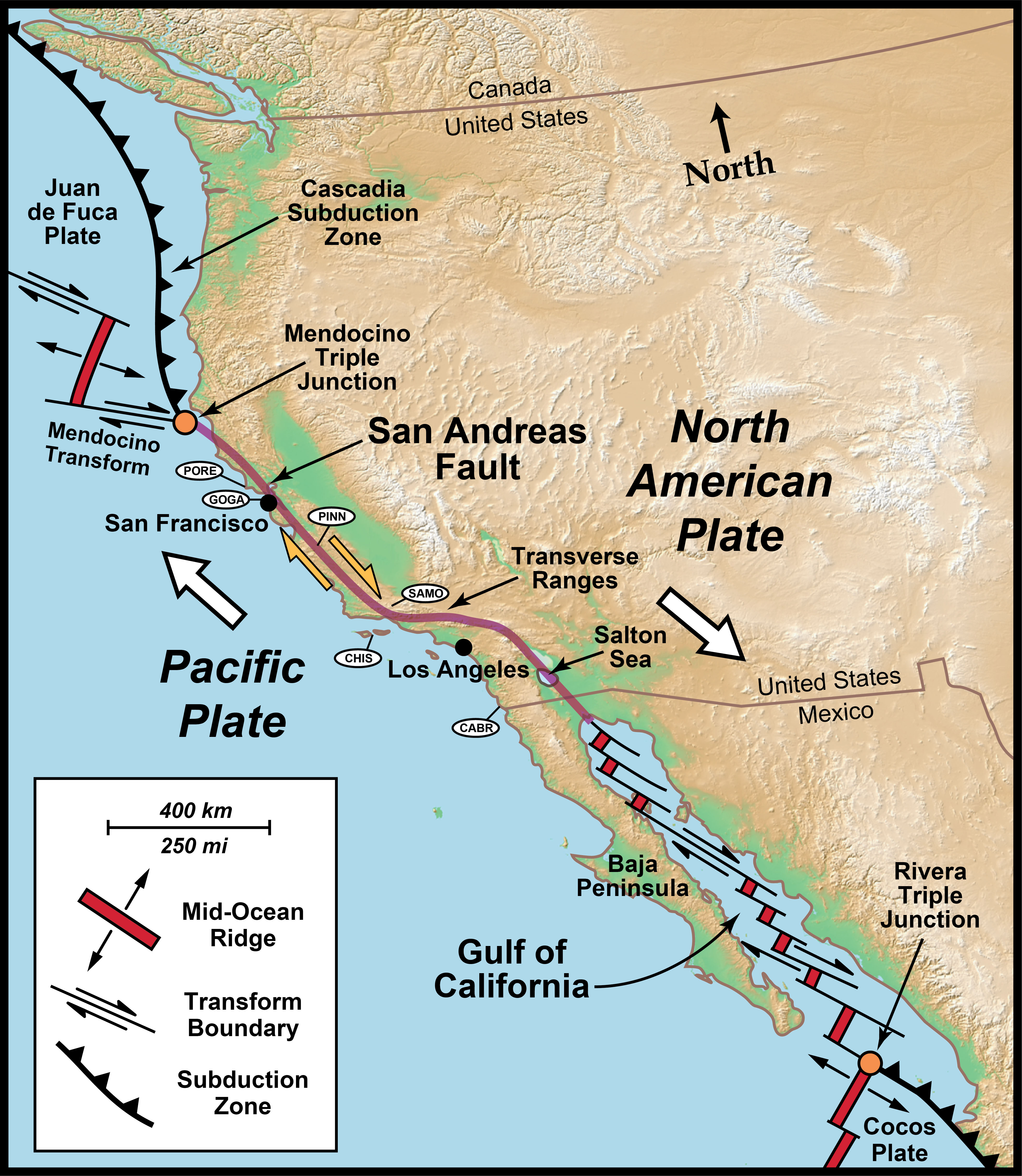 san andreas fault on us map Transform Plate Boundaries Geology U S National Park Service