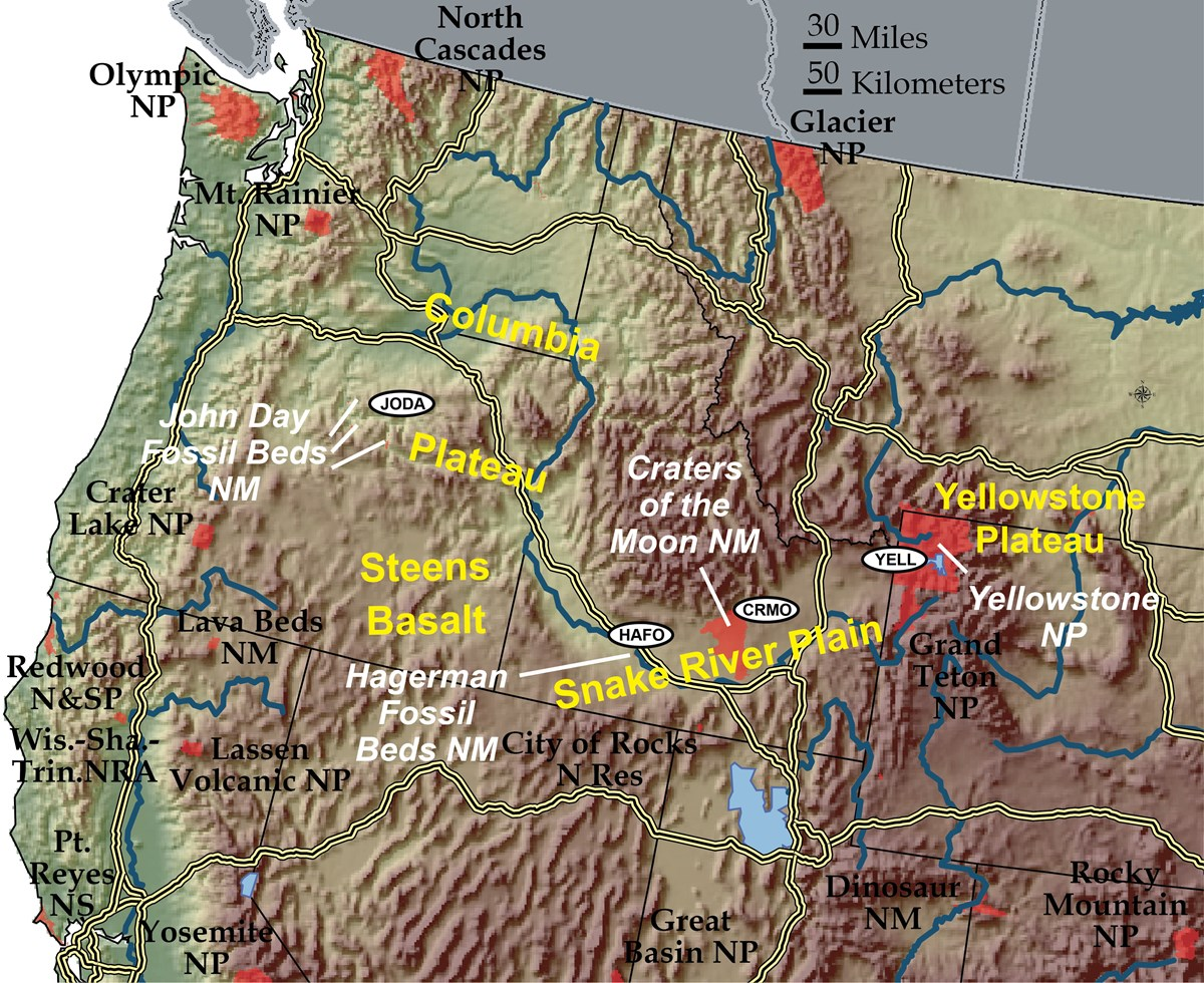 shaded relief map of pacific northwest w nps sites labeled