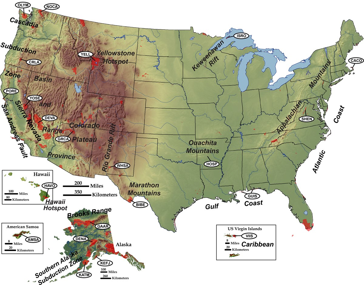 shaded relief map of us w tectonic settings and park labels