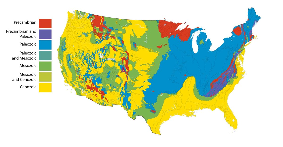 map of the US lower 48 states showing generalized occurrence of rocks of different geologic age