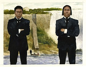 Two men in suits stand in front of the Niagara Falls.