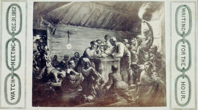 Historic illustration of people gathered around a table for Watch Night