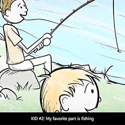 Drawing of two boys fishing