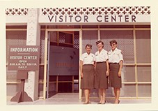 Female rangers in front of the Royal Palm Visitor Center, Everglades National Park, c. 1961.