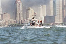 US Park Police Marine Unit, patrols New York harbor after the 9-11 terrorist attacks. New York City skyline in background.