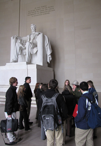 Students standing in front of the Lincoln Memorial. Youth Summits photo by Beth Boland.