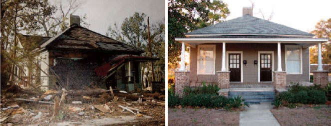 Two images of the same duplex. On the left it is severely damaged, on the right it is not.
