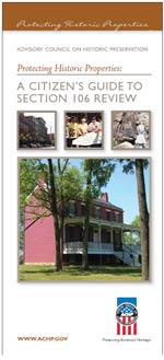 "Cover of a brochure for ""A Citizen's Guide for Section 106 Review"""