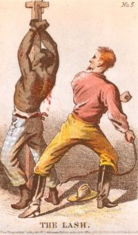 Engraving of a slave being whipped.