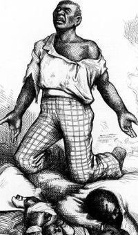 "Illustration of a persecuted African American man looking up with caption ""Am I not a man and a brother?"""